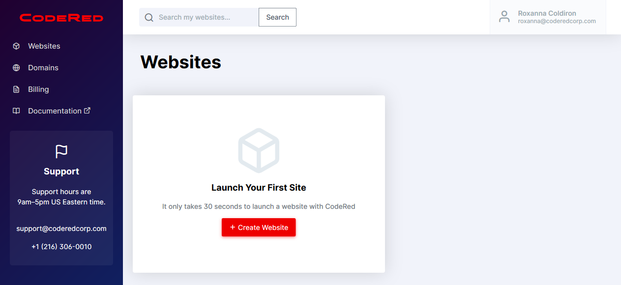 Website dashboard landing screenshot
